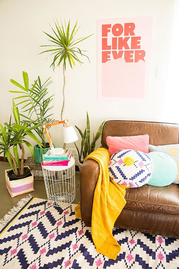 A pink and purple pattern makes for a fresh spring feel with this Aztec-inspired rug and cushion set. 'Ziggy purple/magenta' rug, $1395, 'Ziggy purple/magenta' cushion, $110, [Amigos De Hoy](http://amigosdehoy.com/product/ziggy-rug-large-purple-magenta/).