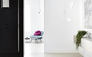minimalism is matched with pops of colour in a Melbourne period home