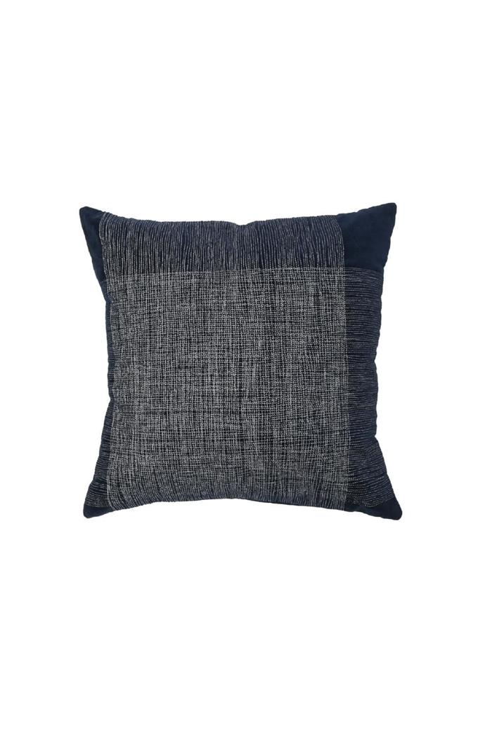 "#2 'Mallow' cushion, $79.95, [Myer](https://www.myer.com.au/). ""Cushions are such an easy update, and I love the detailing in this one. Navy is the perfect pick-up with my grey-and-white beach palette."""