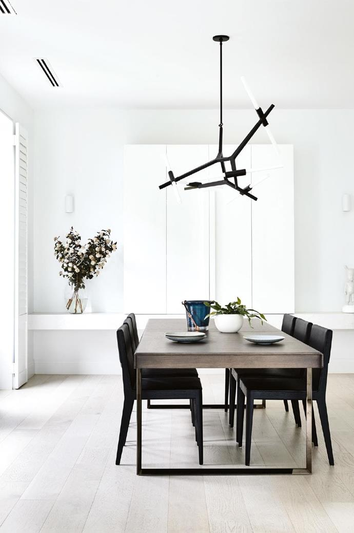 **Dining area** The [Roll & Hill](https://www.rollandhill.com/) pendant light is a dramatic addition above the B&B Italia table and chairs from [Space Furniture](http://www.spacefurniture.com.au/). Greenery and ceramics from [Safari Living](https://www.safariliving.com/) add texture Photographer: Derek Swalwell, Stylist: Rachel Vigor