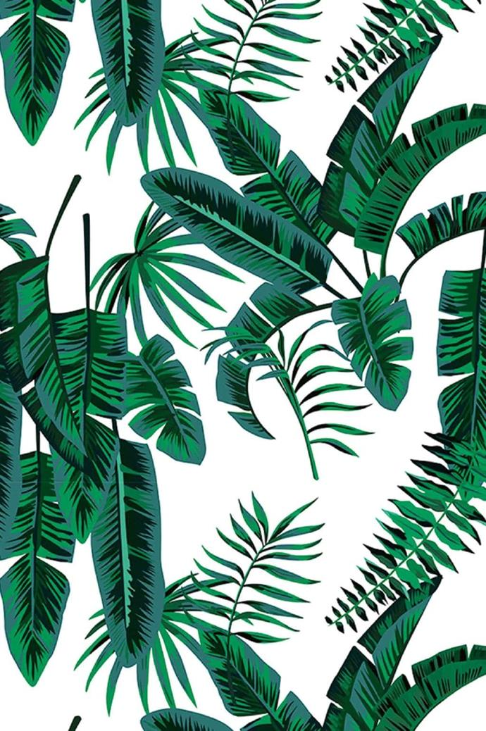 Dreams of exploring the exotic tropics are in reach with this striking wallpaper. A feature wall covered in wallpaper is an easy way to bring a graphic element to any space. Grace Garrett 'Banana Palms Grande' wallpaper in Angry Ocean, from $60/sqm, [Sparkk](https://www.sparkk.com.au/)