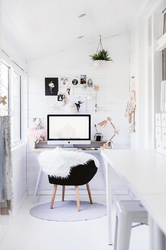 """The east-facing studio is where Lee creates her dolls for Maven Dolls. """"We get that beautiful morning light in here,"""" she says. A white glass bauble from [Papaya](http://papaya.com.au) is the only festive addition here Photographer: Maree Homer, Stylist: Vanessa Colyer Tay"""