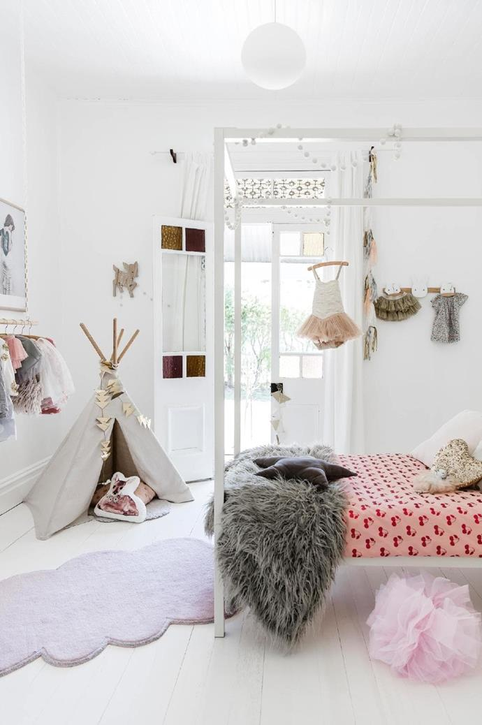 In daughter Bertie's room, dreamy frills and skirts are on display, while a [Kip & Co](https://kipandco.com.au/) 'Cherry Pie' quilt cover creates a welcoming sleeping zone. Photographer: Maree Homer, Stylist: Vanessa Colyer Tay