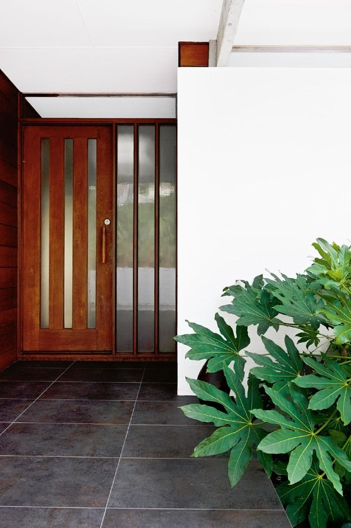 The hand-like leaves of fatsia at the front door start a semi-tropical theme that carries through to the back garden, in contrast to the stiffer plants that dominate the sloping front yard Photographer: Brigid Arnott