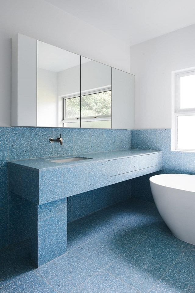 "The textural appeal of [trendy terrazzo](https://www.homestolove.com.au/these-are-the-biggest-tile-trends-for-2018-|target=""_blank"") transforms a classic blue and white colour scheme into something truly special. *Story: Inside Out*"