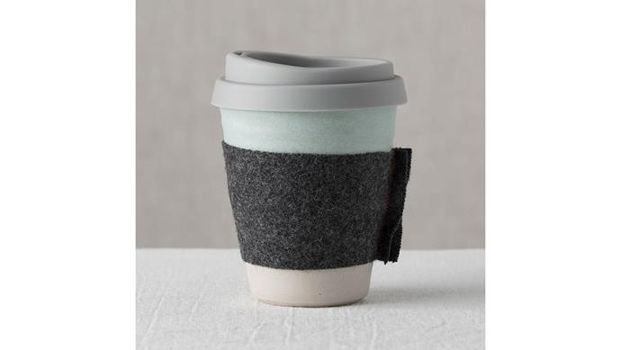 'Claycup' cup in Aqua, $40, [Claycups](https://claycups.com.au/).