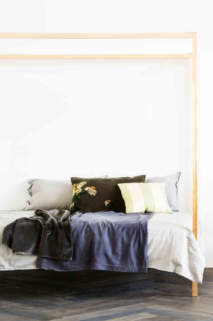 Megan Morton four-poster bed, $1699/queen, [Incy Interiors](http://www.incyinteriors.com.au/)