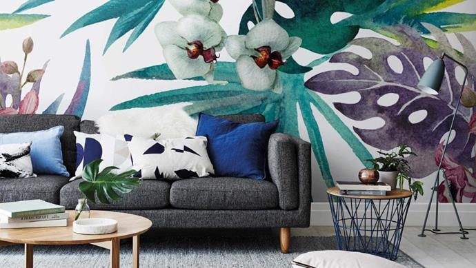 Enliven your living room and transform your feature wall into a colourful piece of art. 'Botany in living room' wall mural, £235, [PIXERS](http://pixersize.com/wallmurals/inspirations/botanika/6059).