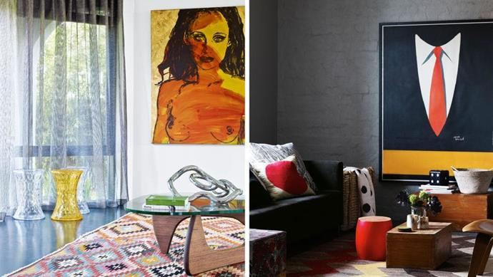 An artwork is destined to be the focal point of a space. If you're on the hunt for a key piece for your own space, check out these zone-defining options. Artworks: 'Jill' by [David Bromley](http://bromleyandco.com/art.html) (left), 'Shirt & Tie' poster by Jean Rouille (right). Styling by Jason Grant (left), Rachel Vigor (right) Photographer: Derek Swalwell