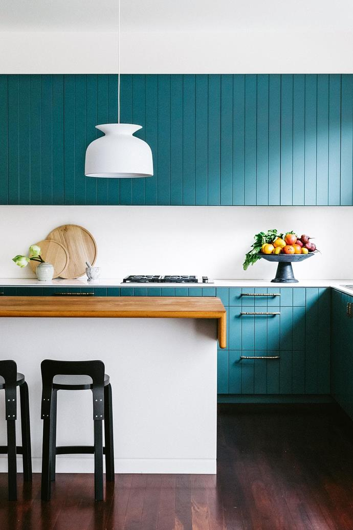 "**COLOUR** <br><br>Life's too short to think only about resale, so consider [coloured cabinetry](https://www.homestolove.com.au/kitchen-cabinet-colour-ideas-17864|target=""_blank"") to add real personality and depth to your kitchen. This is a handpainted finish, so you could update it over time when you need to mix it up (but if you love this deep teal, it's Dulux Coriole). Go on, you know you want to.<br><br>"