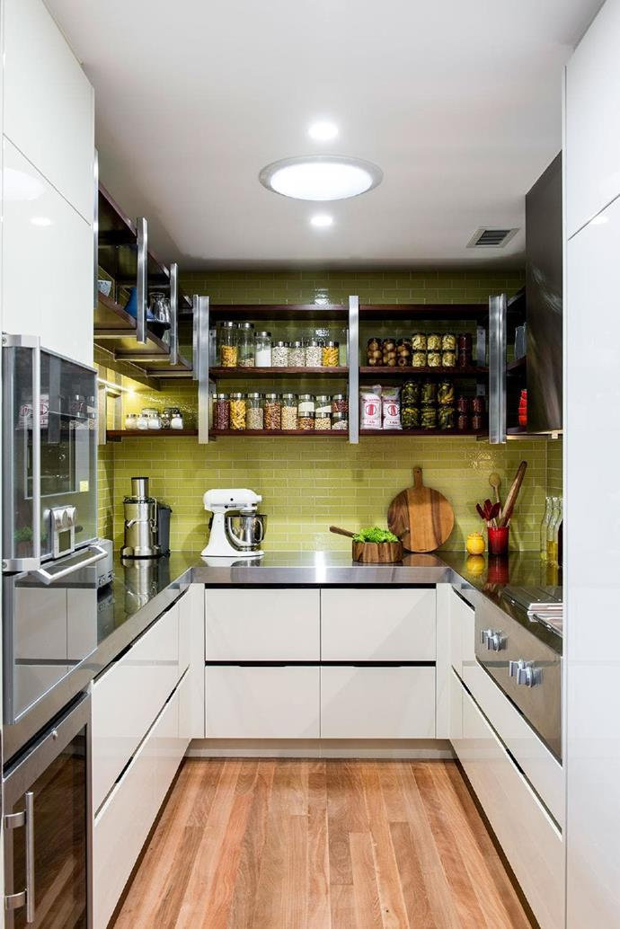 """Benchtop appliances and open shelving make this butler's pantry a highly practical work zone. Design by [Darren James Interiors.](http://www.darrenjames.com.au/