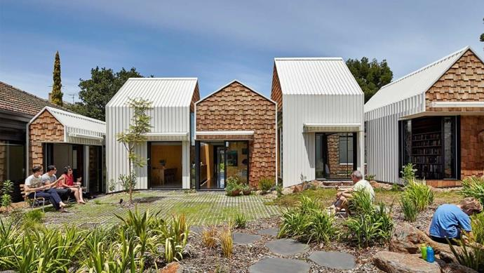 """Looking at this scene, you might think that these are all separate pods, but this is the village that actually houses the [home's extension](https://www.homestolove.com.au/home-extension-13415