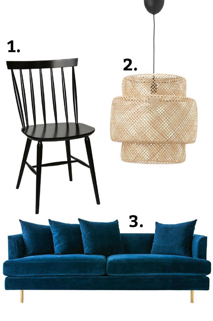 3 great finds: 1. Gus 'Margot' sofa, $3570, [GlobeWest](http://www.globewest.com.au/). 2\. 'Sinnerlig' pendant light, $89, [IKEA](http://www.ikea.com/). 3\. 'Stol' dining chair, from $313, [Thonet](http://www.thonet.com.au/).