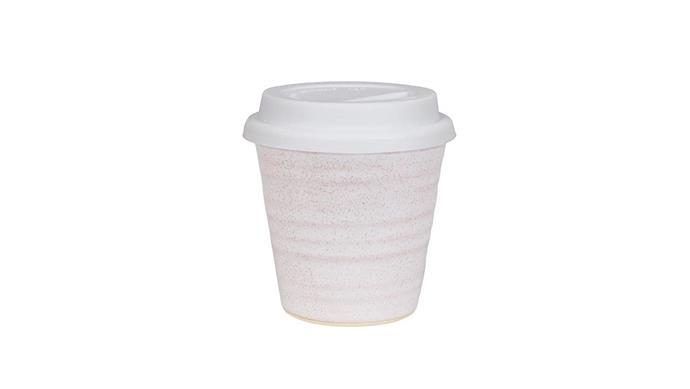 'Carousel' cup with white lid, from $29.95, [Robert Gordon](https://robertgordonaustralia.com/).