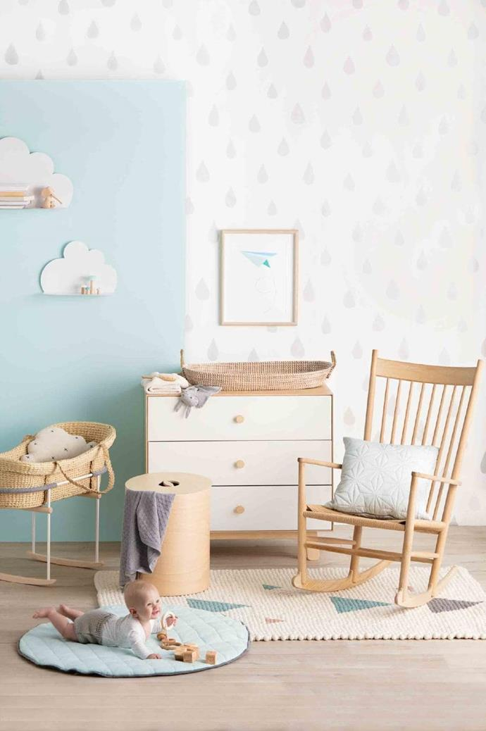 'Cloud' cushion (in rocker), $109.95, [Homely Creatures](https://www.homelycreatures.com.au/). 'Sweden' storage vessel, $445, [Plyroom](https://www.plyroom.com.au/). Cam Cam baby blanket, $189, [Designstuff](http://www.designstuff.com.au/). Oeuf 'Merlin' dresser, $1399, [Kido Store](https://www.kidostore.com/). Fog Linen Work baby blanket, $65, and Redecker 'Whale' hairbrush, $29.95, [Saison](https://www.saison.com.au/). 'Bun Bun' comforter, $29.95, [Mister Fly](http://misterfly.com.au/). 'Reva' basket, $115, [Olli Ella](http://www.olliella.com.au/). Cam Cam quilted cushion (on chair), $104, [Designstuff](http://www.designstuff.com.au/). Cooper wears Oeuf Clothier 'Kimono' onesie, $69, and Rylee & Cru bloomers, $52, [Kido Store](https://www.kidostore.com/). 'Viking' blocks, $55, and 'Organic' ring stacker, $45, [Noc Noc](https://www.nocnoc.com.au/). 'Teepee Geo' rug, $599, [Olli Ella](http://www.olliella.com.au/). On wall: Bloomingville 'Cloud' shelves, from $88 each, [Kido Store](https://www.kidostore.com/). Books, stylist's own. Lucie Kaas elephant toy, $89.95, [Kido Store](https://www.kidostore.com/). Briki 'Mushroom De Paris' figures, $44/assorted set of 4, [Leo & Bella](http://leoandbella.com.au/). Paper Plane print, $35 (unframed), [Sprout And Sparrow](https://www.sproutandsparrow.com.au/). Background in 'Clean & Protect' low sheen interior paint in Delicious Mint, $43.50/2L, [British Paints](http://www.britishpaints.com.au/), and 'Raindrops' wallpaper, £59.95/roll, [Hibou Home](https://www.hibouhome.com/). 'Impressive Ultra' laminate flooring in Soft Oak Light, $62/sqm, [Quick-Step](http://www.quick-step.com.au/) Photographer: Craig Wall, Stylist: Emmaly Stewart