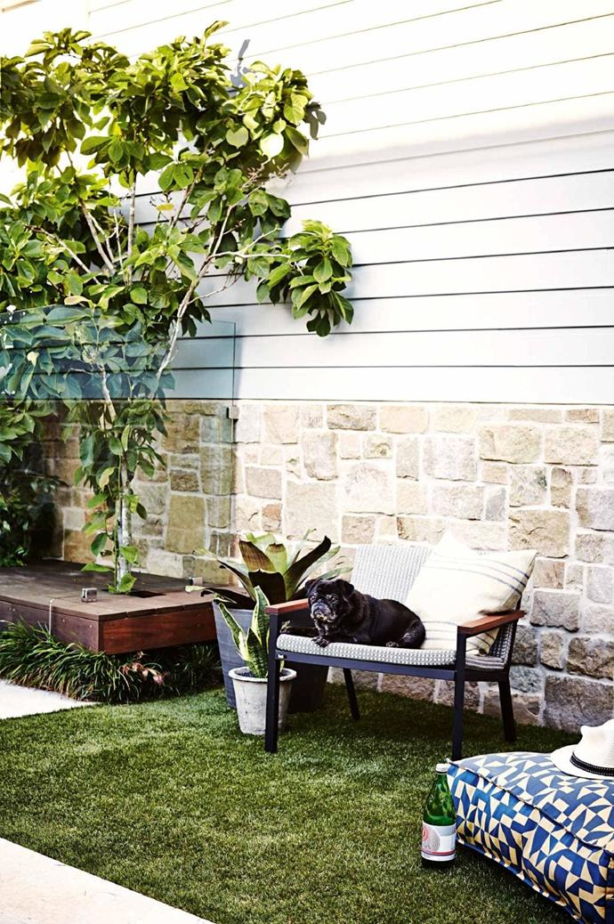 Artificial turf is a low-maintenance lawn alternative and marks a textural change from the stone-paved areas. Floating decking allows greenery to peek through Photographer: Natalie Hunfalvay, Stylist: Adam Robinson