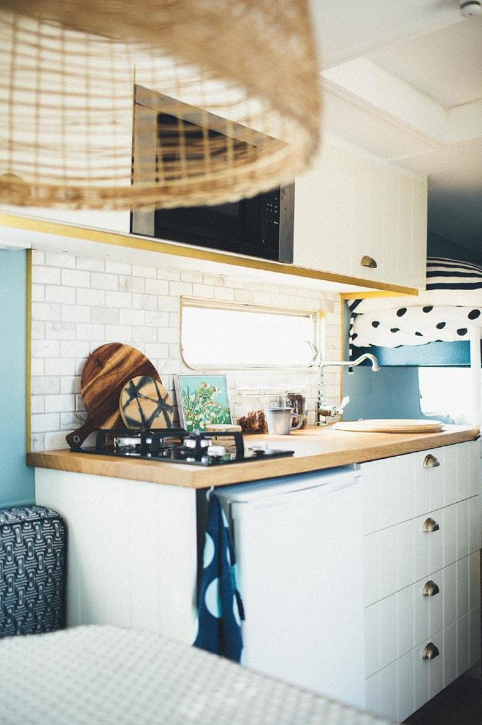 """""""We used [IKEA](http://www.homestolove.com.au/ikea-2019-catalogue-7082 target=""""_blank"""") cabinetry and laid our own oak timber floorboards. With the curtains, I sourced the fabric and had them made by a local sewer."""""""