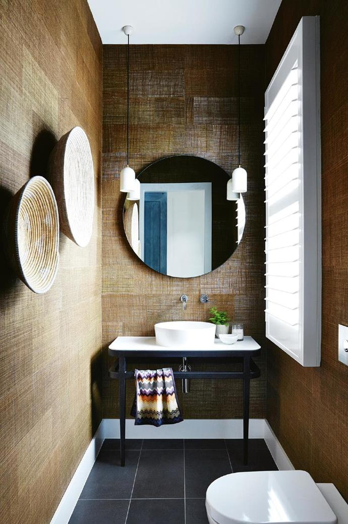 **Tonal & tactile**. A powder room is the place to go a little out there, decoratively speaking. Play with all the colour, pattern and materials you can't handle (or afford) in a larger space, like seagrass wallpaper in tobacco brown. A mixture of textures creates big impact and this is the room where you can finally justify that Missoni hand towel.... Designed by [D + D Home](http://ddhome.com.au/) Stylist: Deanne Jolly, Photographer: Armelle Habib