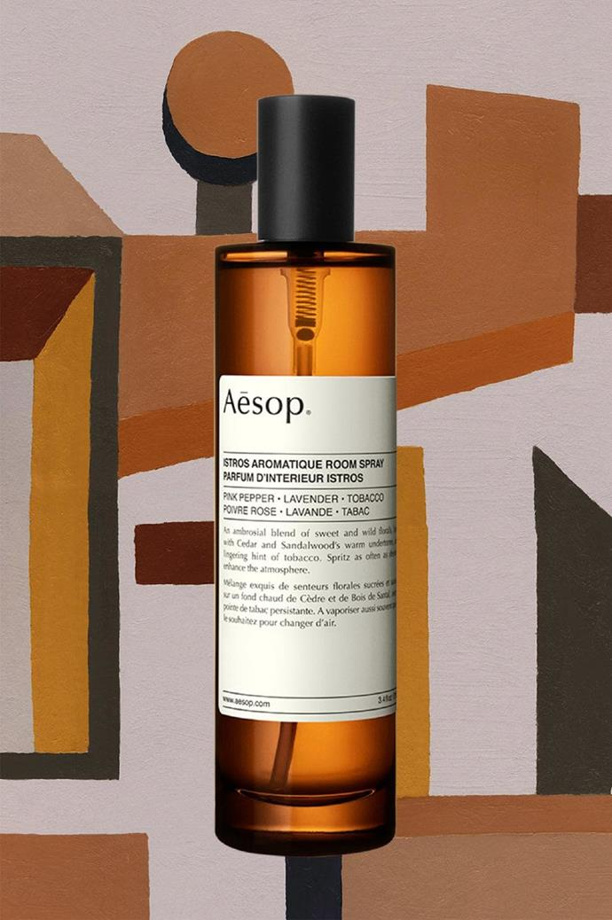 Istros: Named after an ancient Greek port town, the [Istros aromatique room spray](https://www.aesop.com/au/packs-and-gifts/home/istros-aromatique-room-spray.html) is a slow-burning blend of pink pepper and lavender with warm undertones of sandalwood, finished with a lingering hint of tobacco.