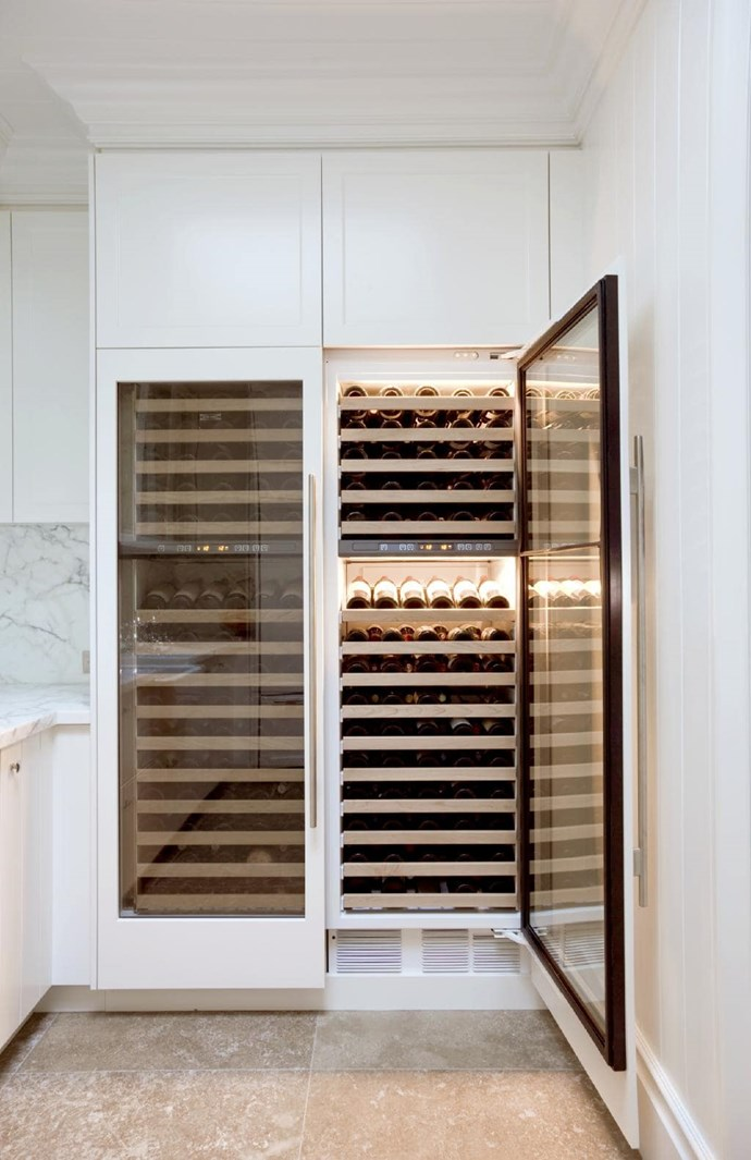 "A large wine collection takes up a wall of this butler's pantry. Design by [Dan Kitchens](http://www.dankitchens.com.au/|target=""_blank""