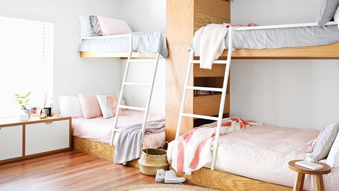 **Bespoke bunks: space-saving, flexible sleeping** It's the age-old question – where to put your kids' pals when it comes time for lights out? Sure, an air mattress will do the trick, as will a trundle. But for a more permanent option – ensuring you'll never be caught out when a play date turns into an overnighter – bespoke bunks are worth considering. Built-in and sturdy, these aren't the rattling, swaying bunks we grew up with. By building upwards rather than outwards, you won't need to compromise on all-important floor space. Incorporate shelving or storage into the build, or a larger double bed on the bottom – perfect for when grandparents come to stay. Architecture: [Teeland Architects](https://www.teeland.com.au/)._ Photographer: Anastasia Kariofyllidis, Stylist: Simone Barter