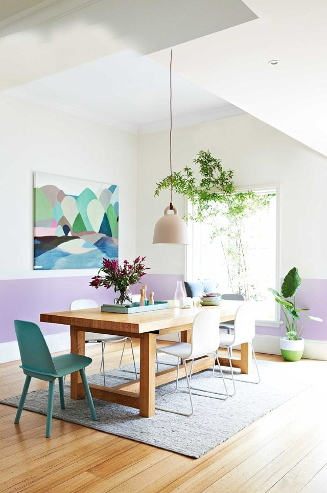 """Interior stylist [Julia Green](https://www.homestolove.com.au/colour-tips-from-interior-stylist-julia-green-14524 target=""""_blank"""") says """"The dining room is a communal space [so] make a statement - colour in a dining room is bound to be conversation starter!"""""""