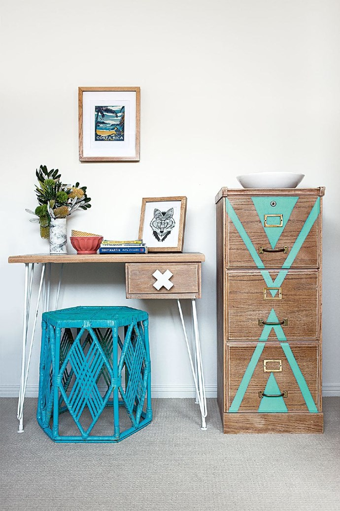 **Get quirky** For a less conventional study area, choose furniture that is a little off-beat. Don't be afraid to add pops of bold colour!