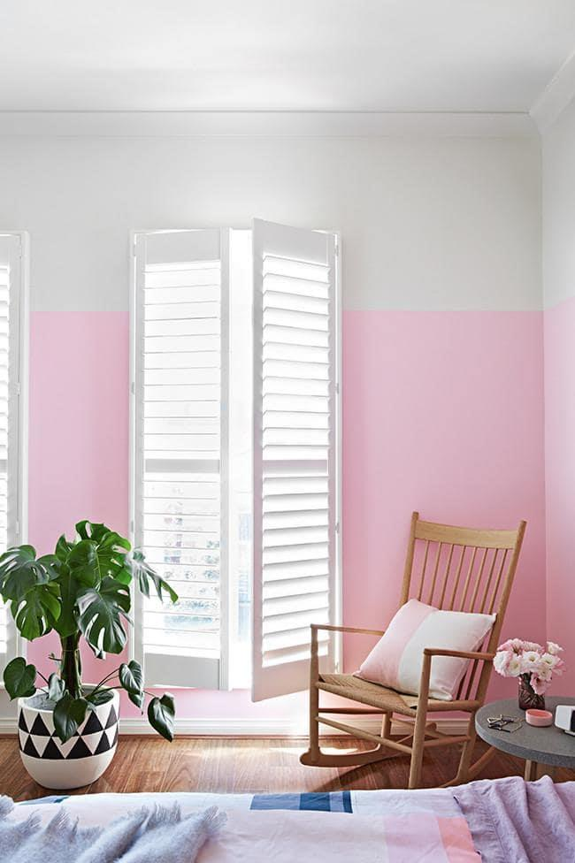 Pink walls can be serene, calming and sophisticated – combine them with timber, soft tones and neutral shades.  Try British Paints 'Clean & Protect' low sheen acrylic in Pink Bliss (seen here), from $55.50/4L, [Bunnings](http://www.bunnings.com.au/our-range/brands/b/british-paints) Stylist: Julia Green, Photographer: Armelle Habib
