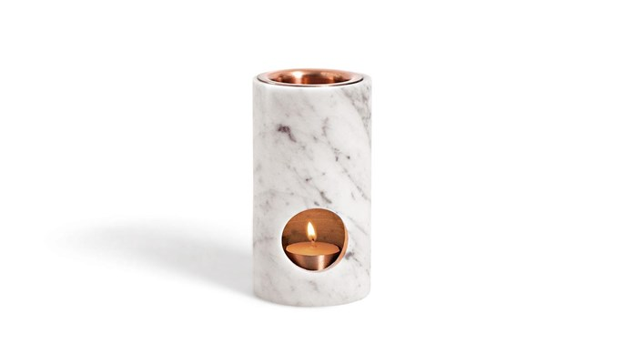 **Burning up** Turn up the heat with the invigorating aroma of essential oils. Timeless Carrara marble and copper add easy elegance, courtesy of the 'Synergy' oil diffuser, $169.95, from [Addition Studio](http://www.additionstudio.com/).
