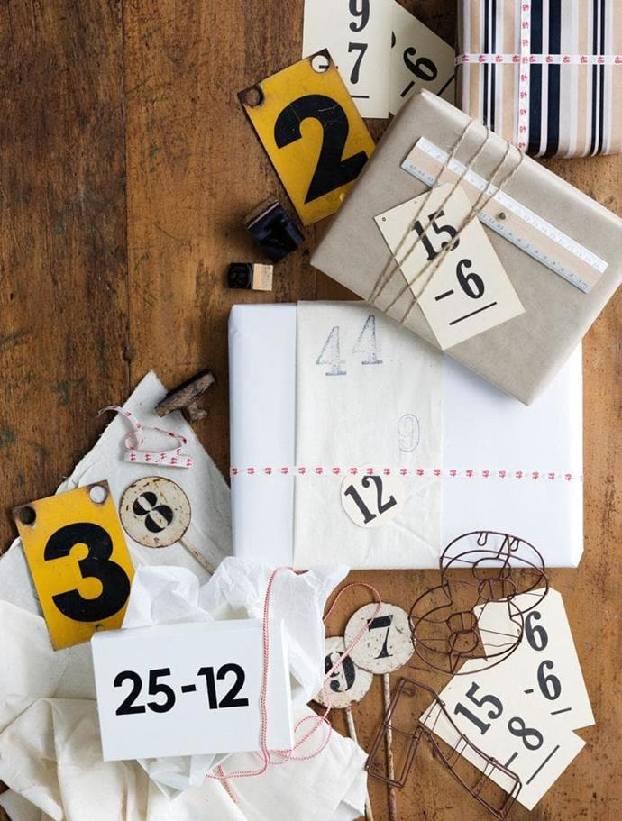 Number motifs are a simple and graphic way to decorate your gifts. Use stamps, stencils, stickers or print out the numbers Photographer: Sam McAdam-Cooper, Stylist: Lara Hutton