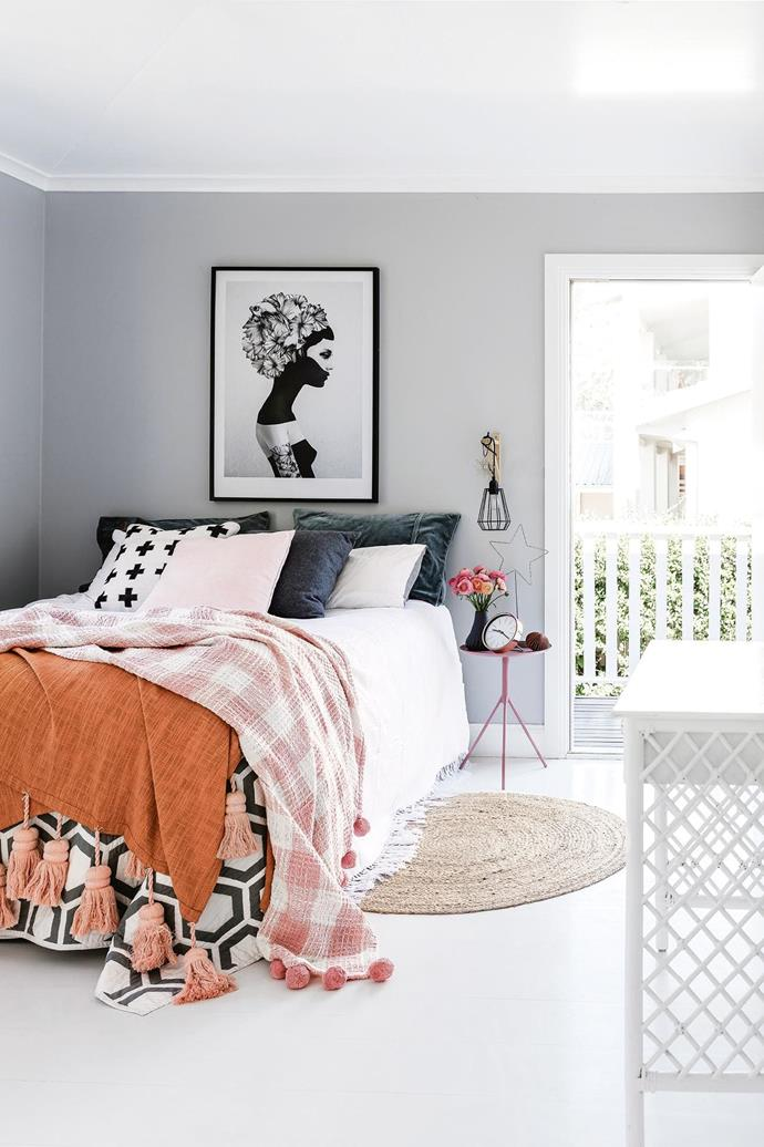 "**Pattern play** Layers of colour, pattern and texture add personality to an otherwise plain bedroom and create an inviting, cosy vibe. Check out [Kip&Co](https://kipandco.com.au/|target=""_blank""