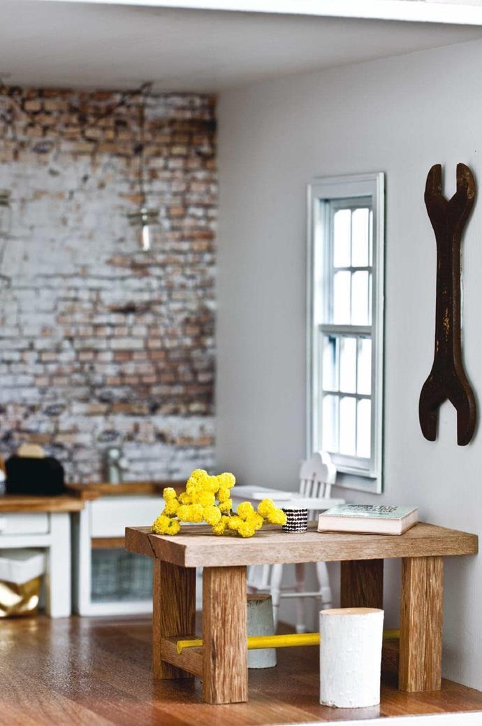 "A dot-patterned mug inspired by a life-sized [Marrimekko mug](https://www.marimekko.com/au_en/home/kitchen-dining/cups-mugs/oiva-rasymatto-mug-4-dl-white-black-067497-190 target=""_blank"" rel=""nofollow"") sits on the Mark Tuckey table."
