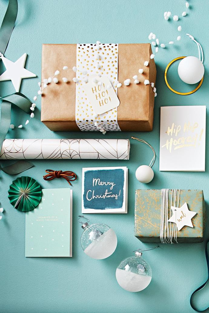<b>Green, gold &amp; white</b> Sage, pistachio and forest shades have made their mark this year. Pair these tones with clean white and glimmering gold.  <b>Products</b> Ribbed green ribbon, Vandoros. 'Noel' star decoration in Matte White, $8.95, Country Road. 'Pom Pom' ribbon in White, $15.95/10m roll, and 'Pebble Belli-band' letterpress foil paper embellishment in Gold on White, $12.95/5m roll, Inky Co. 'Ho Ho Ho' Christmas gift tag, $2.95, Bespoke Letterpress. Kraft paper, stylist's own. Matte white glass &amp; gold bauble, $14.95/set of 4, Country Road. Galina Dixon 'Hip Hip Hooray' card, $7.50, Top3 By Design. Anne Black matte Christmas bauble, from $16, Elevate Design. Twine, stylist's own. 'Noel' gild star ceramic ornament, $14.95/set of 4, Freedom. 'Harmony Eucalyptus/Gold' wrapping paper, Vandoros. 'Merry Christmas' card, $6.90, Citt&agrave;. Frosted baubles, $34.95/set of 4, Freedom. Lagom 'Dreaming Of A White Christmas' card, $6.95, Waterlyn. 'Deco Quartz' paper, Vandoros.