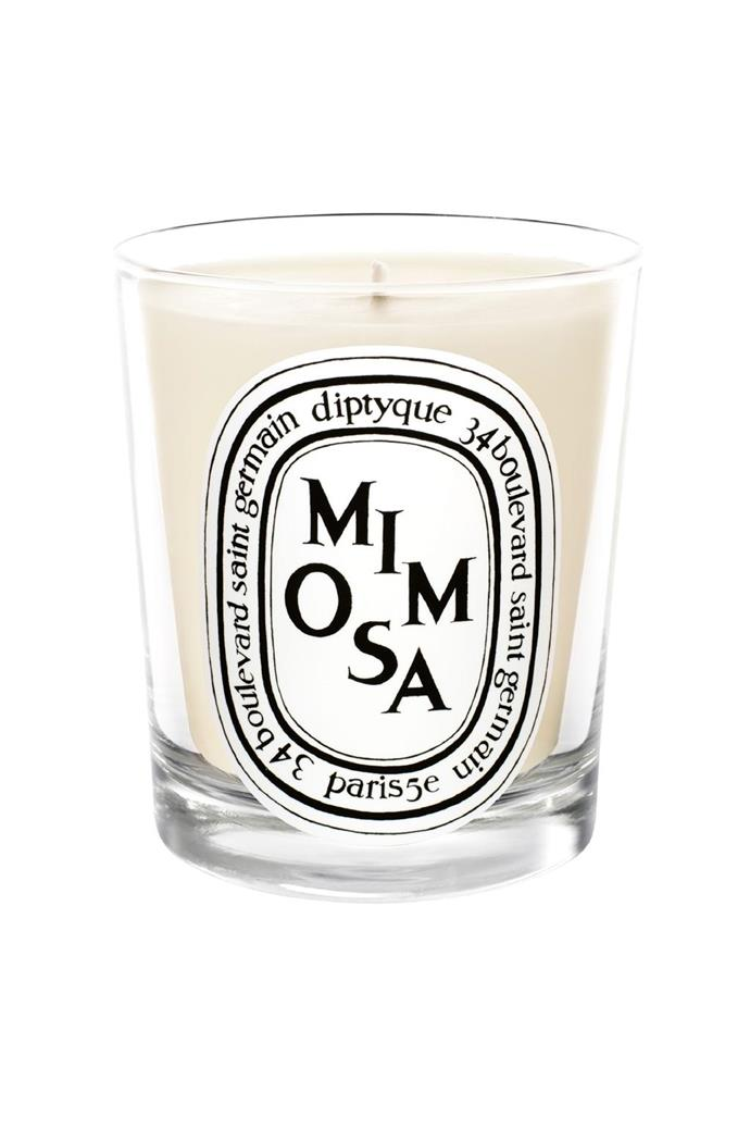 Choosing a scented candle that you love is a great way to pull the mood of a zone together. Diptyque 'Mimosa' candle, $78, [Mecca Cosmetica](http://mecca.com.au/)
