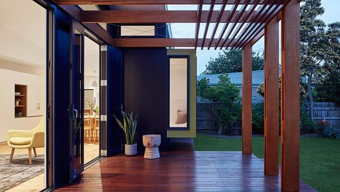 Twin openings facing the garden provide cosy alcoves and fertile spots to grow herbs and flowers.  Project by [Architect Hewson](https://www.architecthewson.com/), Photography by [Jack Lovel](http://www.jacklovel.com/).