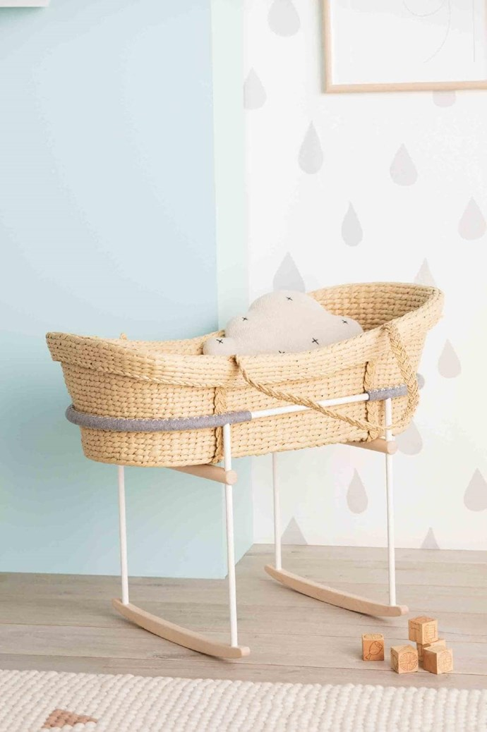 The natural woven basket of this rocker will safely cradle your little person through sleepy days and nights, while the gently curved rocker base provides a soothing motion. Rocker, $850, [Vos Kho](http://voskho.com/)
