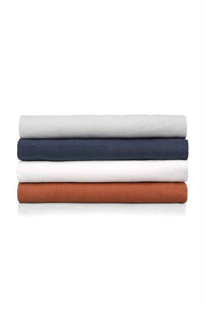 "We asked Darren to pick some of his favourite pieces from his new range for Myer for a style update. #1 'Reed' Belgian linen flat sheet in Tobacco, $199.95/queen, [Myer](https://www.myer.com.au/). ""New bedlinen can absolutely lift a room, and I really love the colour – it's a beautiful muted shade with real depth."""