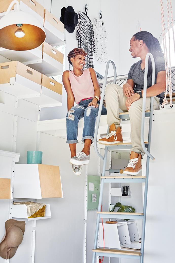 **Modular storage** Shelving brackets and plywood boxes mean storage can be easily reconfigured. Khanyi Bukubukwana and Dawn Dludlu (pictured) of Dokter And Misses use the pod as a weekend escape. [Read the full story here](http://www.insideout.com.au/renovations/house/little-beauty-this-eclectic-home-takes-up-just-17-square-metres/news-story/f501fa9a8bf23f2e22921d1acc61e2f1). _Photography by Greg Cox_ Photographer: Greg Cox