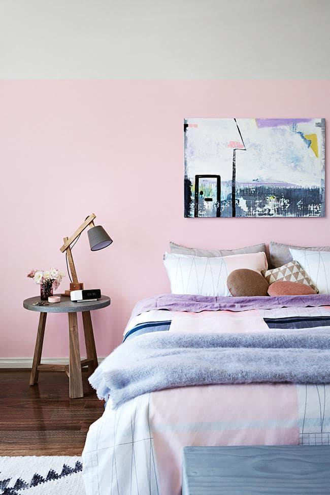 If wall-to-wall pink is too much for you, simply painting to an imaginery picture rail will give your eye some respite from the colour Stylist: Julia Green, Photographer: Armelle Habib