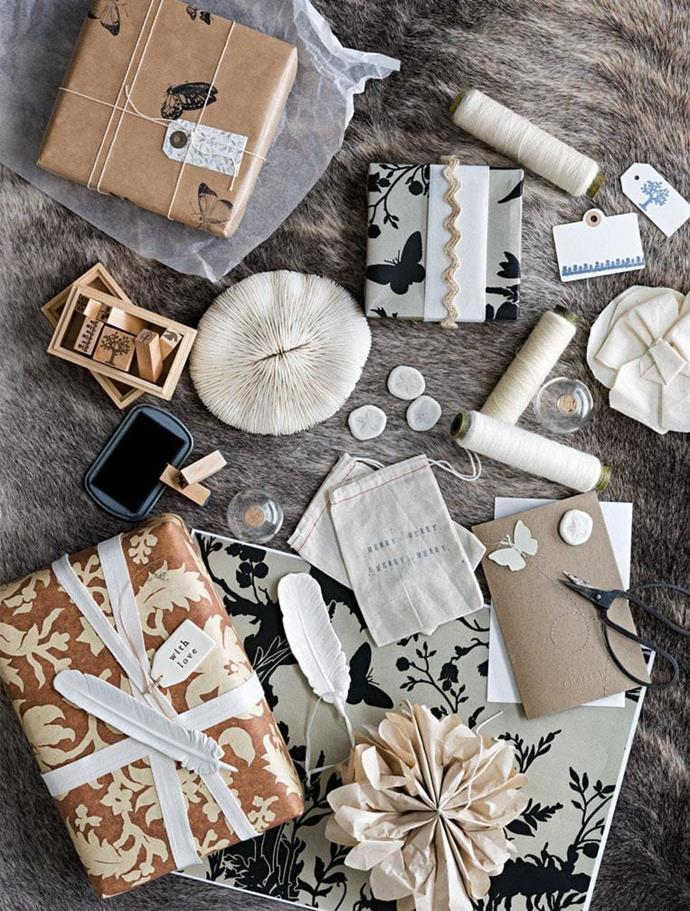 Make your own wrapping embellishments with nature-themed stamps, tags and paint dipped feathers Photographer: Sam McAdam-Cooper, Stylist: Lara Hutton