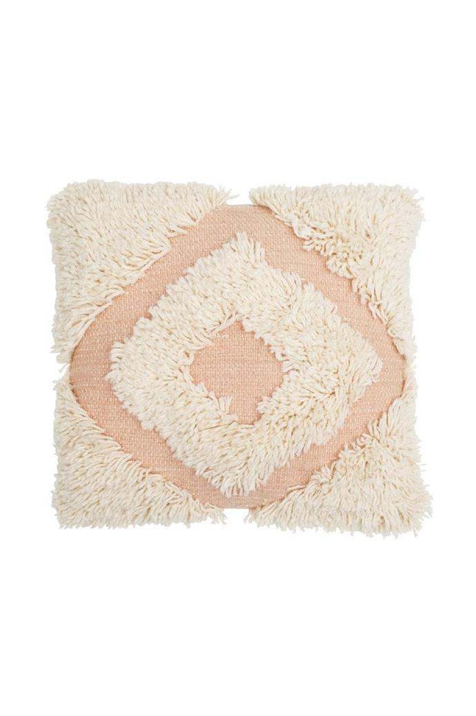 'Shag Diamond' cushion in Blush, $145, [Langdon Ltd](https://langdonltd.com.au/)