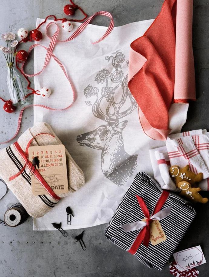 Fabric and teatowels offer a world of texture and can be fastened using contrasting ribbons and finished off with whimsical accessories
