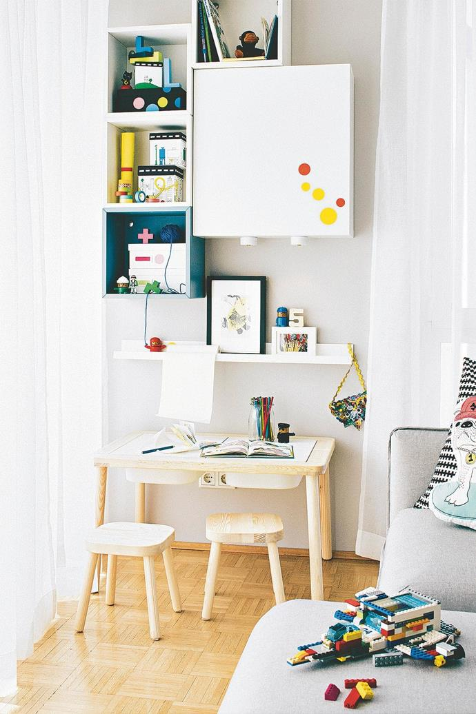 **Arts & crafts: create a special nook** Whether it's filling a sticker book, finger-painting or moulding Play-Doh, giving kids their own special workspace is a good idea, as it keeps grown-up zones clear of mess. An unused corner or under-stairs area with plenty of natural or artificial light will do the trick. Get your hands on a small table – don't spend a fortune because it will inevitably be covered in paint, glue and glitter – some stools and plenty of storage. Get creative with wall shelving, crates and a pinboard to display their masterpieces, and avoid carpet or rugs to make the clean-up quick and easy. **Tip** Vertically stacked shelving is a clever space-saver, and doubles as a way of displaying artworks. _Photography by Andreas Hoernisch, [Living 4 Media](https://www.living4media.com.au/)_.
