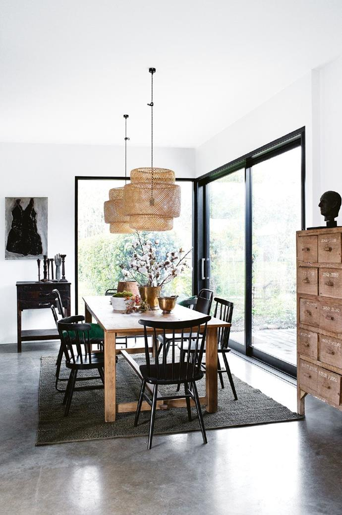 As keen entertainers, owners Melissa and Frank love their large dining table. This recycled elm table, from Melissa's shop [Kabinett](http://kabinett.com.au/), seats 10, and is paired with budget-friendly [IKEA](http://www.ikea.com/au/en/) pendant lights. Stylist: Jane Frosh, Photographer: Tara Pearce
