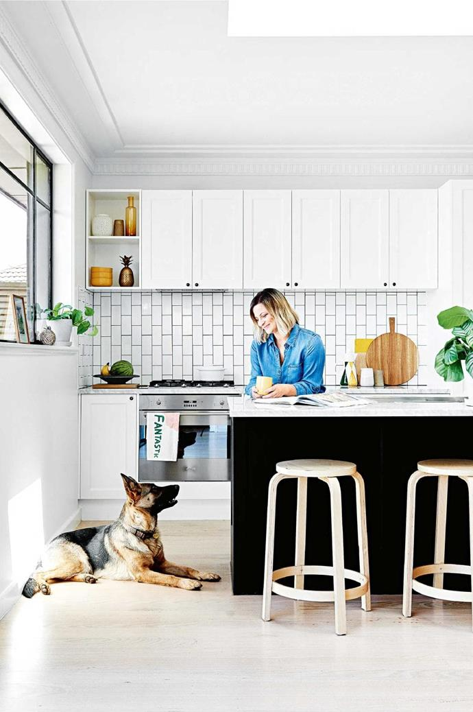 AFTER: A black-and-white colour scheme was high on the wishlist for owner Lena, pictured with German shepherd Lexia Photographer: Brooke Holm, Stylist: Marsha Golemac