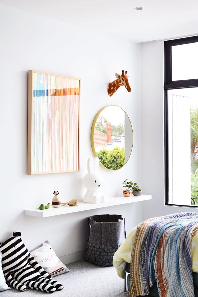 **Frankie's bedroom** The girls' domain is upstairs with all three bedrooms and a rumpus room. A colourful [Rowena Martinich](http://www.martinich.com.au/) artwork sets the tone in this space. Photographer: Derek Swalwell, Stylist: Rachel Vigor