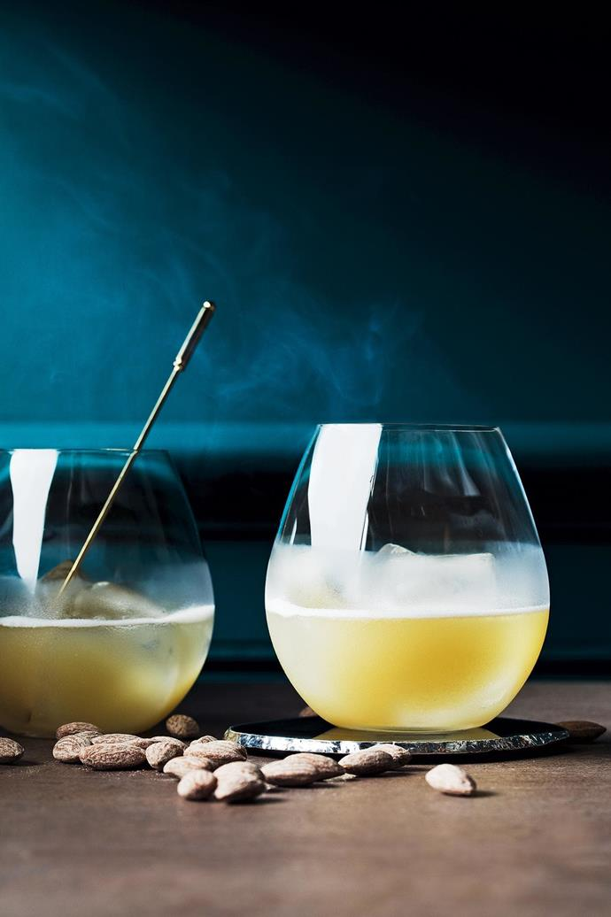 **Smoked cinnamon whisky sour** [Get the recipe here](http://www.insideout.com.au/home-style/new-traditional/4-cocktail-recipes-to-add-to-your-entertaining-repertoire/news-story/731d5bde95e2d6633397f24601ca80d6). **Products** 'Pure Bourgogne' glasses, $66.90/set of 4, Città, cittadesign.com. 'Column' bar spoon, $10.95, Bargeek, bargeek.com.au. Agate coasters in Black/Brown, $195/set of 4, Becker Minty, beckerminty.com. 'Dust' porcelain tile in Rust Naturale, $105/sqm, Di Lorenzo Tiles, dilorenzo.com.au. _Food styling by David Morgan, styling by Jono Fleming and photography by Jeremy Simons, with styling assistance form Romain Dossou-Yovo_ Stylist: Jono Fleming and David Morgan, Photographer: Jeremy Simons