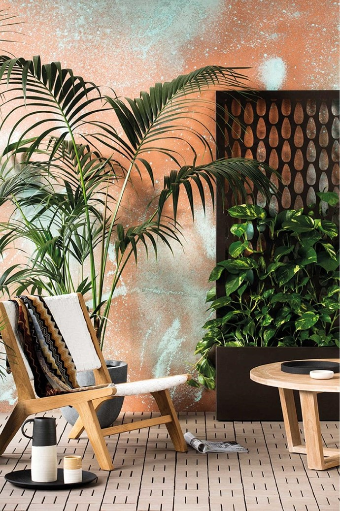 Pattern isn't just for inside – add interest to your outdoor living area with a vertical 'Screen planter' planter box, $880, from [Lump](http://lump.com.au/portfolio-items/screen-planter/). Complete your outdoor garden with the '2000s' paint range from [Haymes](http://specifiers.haymespaint.com.au/colour-through-the-decades-2/2000s). Stylist: Ruth Welsby, Photographer: Martina Gemmola