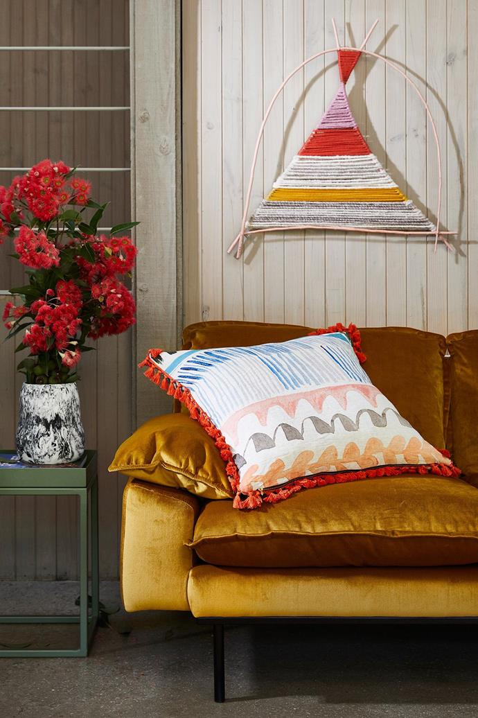 6. Unexpected combinations can have a big impact. And often a soft mixed with a bold has extra punch. Like the rich velvet mustard couch with the soft pale pink Lumiere artwork... boom!  <i>Styling by Julia Green and Photography by Armelle Habib</i>. Stylist: Julia Green, Photographer: Armelle Habib