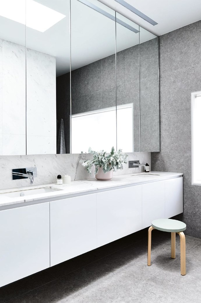 **Ensuite** A floating vanity with mirrored cabinets echoes the cabinetry in the rest of the home, with [Signorino Tile Gallery](http://www.signorino.com.au/) tiles adding texture Photographer: Derek Swalwell, Stylist: Rachel Vigor